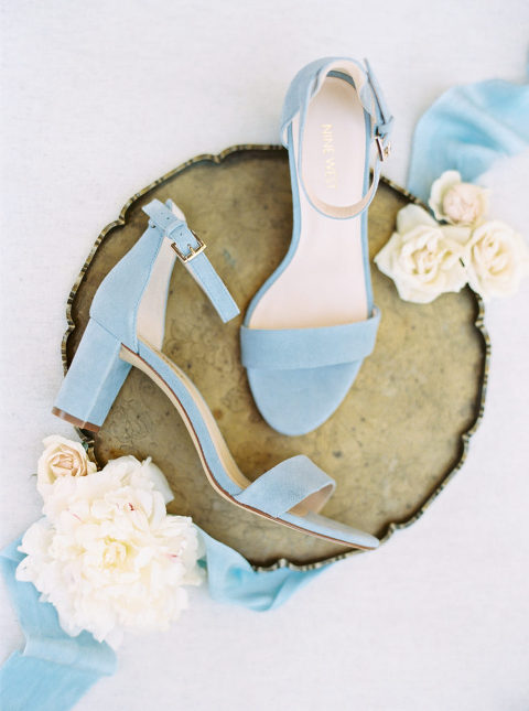 Blue suede Nine West bridal shoes