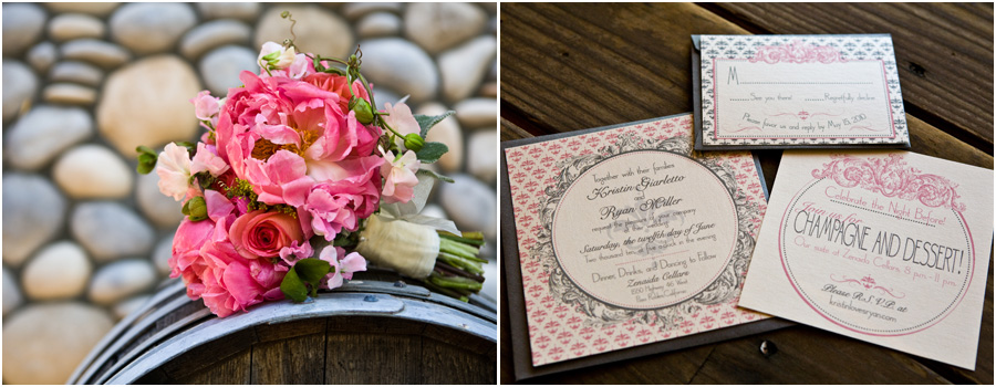 Zenaida Cellars wedding, Flowers by Jenny McNiece, pink and grey wedding invitations, Paso Robles wedding photographer