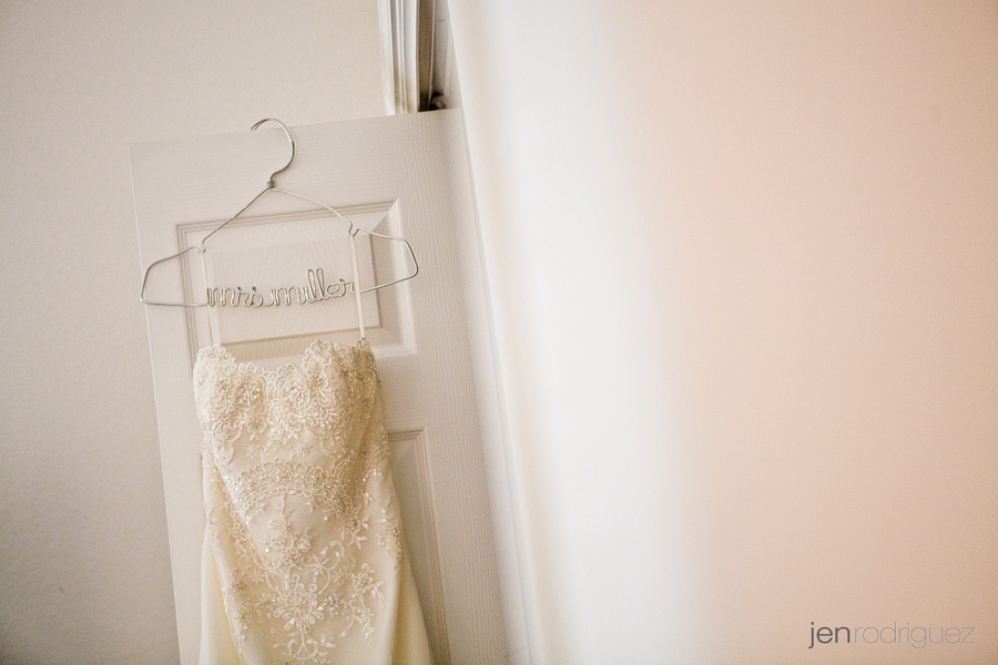 dress on a hanger, zenaida cellars wedding in Paso Robles