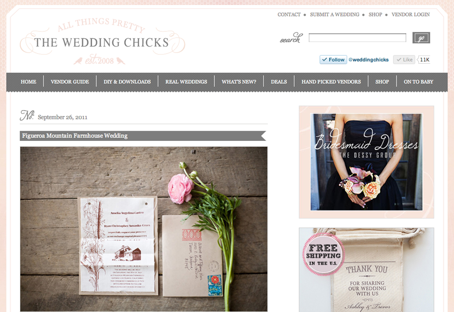 Figueroa Mountain Farmhouse wedding venue was featured on the wedding chicks