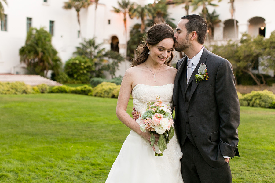 Photo of the bride and groom in the Santa Barbara Courthouse Courtyard