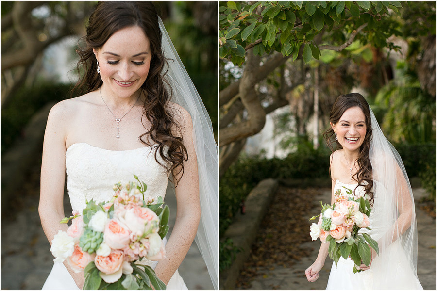 Photograph of the beautiful bride on the courthouse lawn