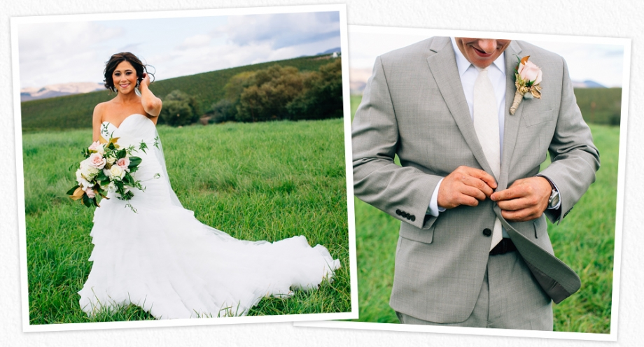 Gorgeous bride, Courteney, and her husband Wes, at their ranch wedding in San Luis Obispo