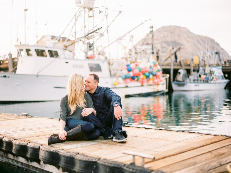 Morro Bay harbor engagement photograph
