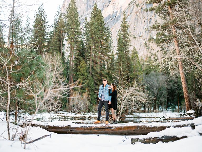 Snowy Yosemite engagement session