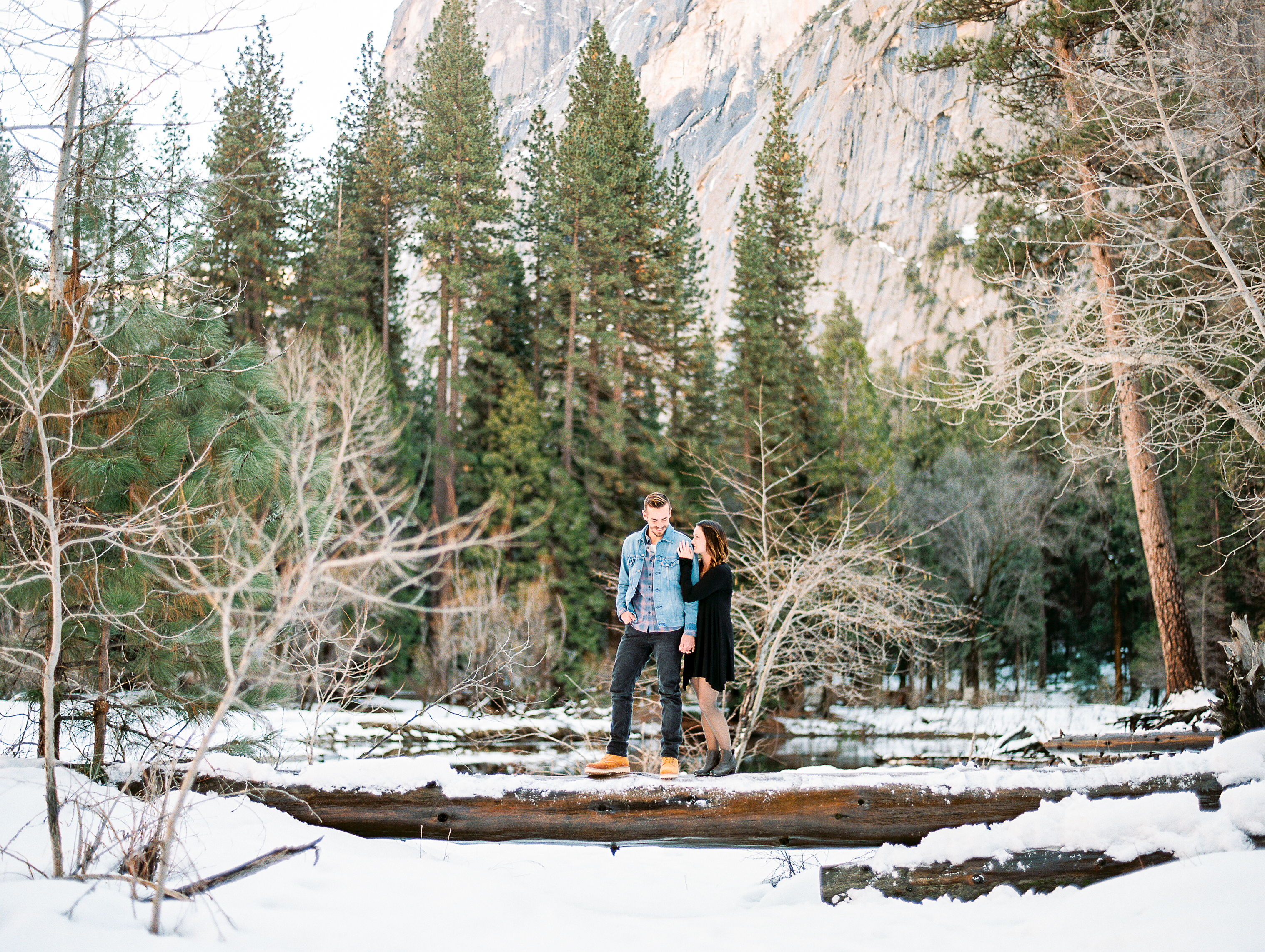 Snowy Yosemite engagement session