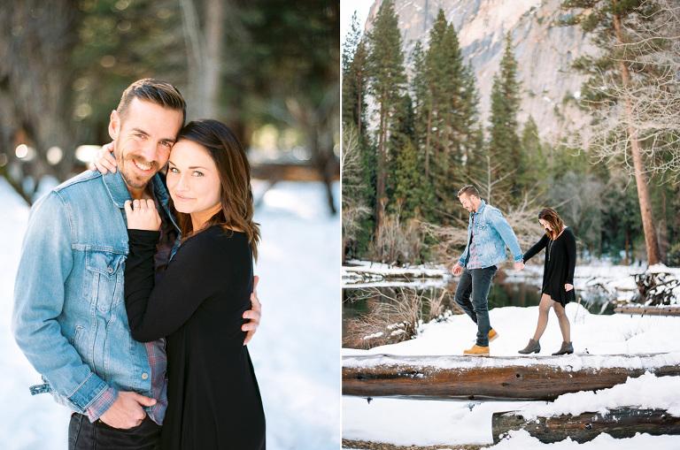 couple walking through Yosemite during their engagement session