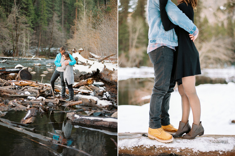 Couple standing on logs in Yosemite river