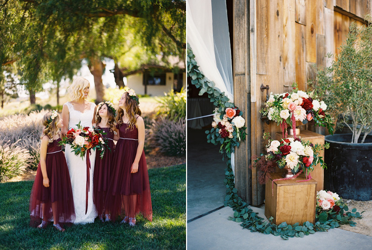 Flower girls in cranberry colored dresses with bride