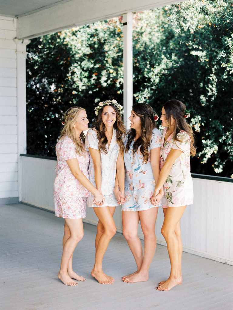 Julie and her bridesmaids wearing Sugar Plum short and blouse sets