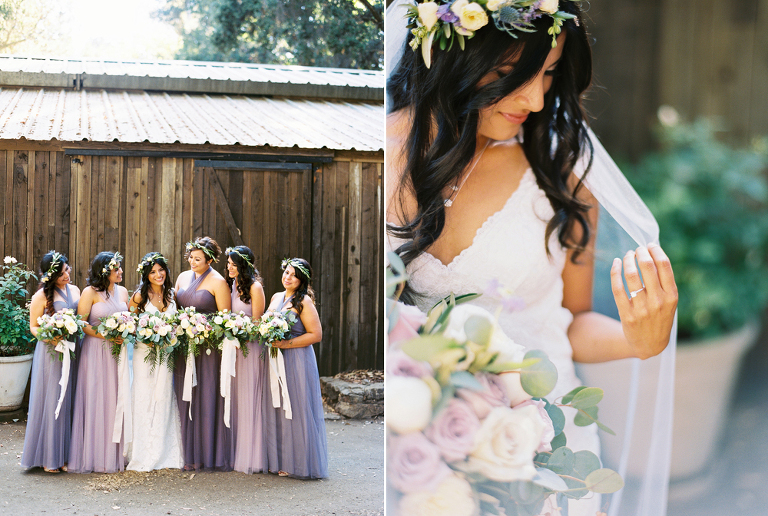 Ombre lavender bridesmaids dresses and flower crowns